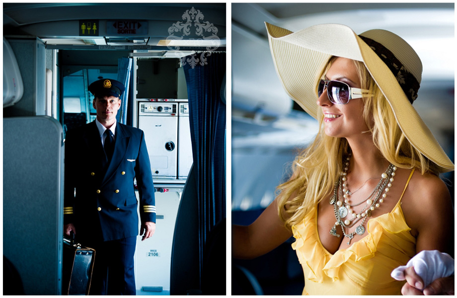 Engaged couple in an airline inspired photo shoot