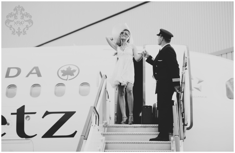 Toronto wedding photographers shoot with air canada jet