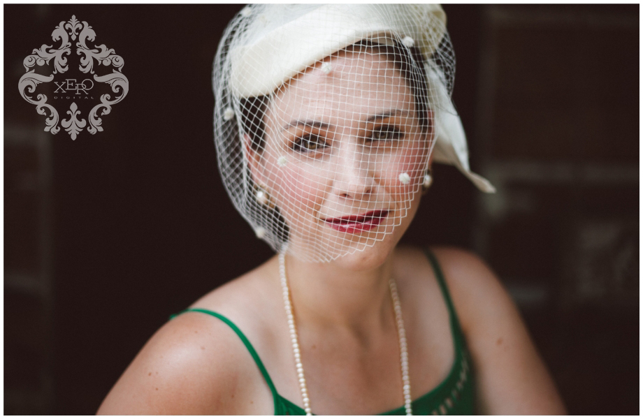 beautiful bride to be with vintage bird cage veil