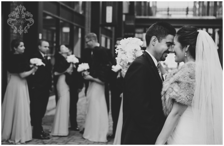 photo of wedding party in black and white