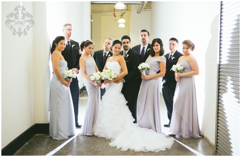 wedding party in hallway