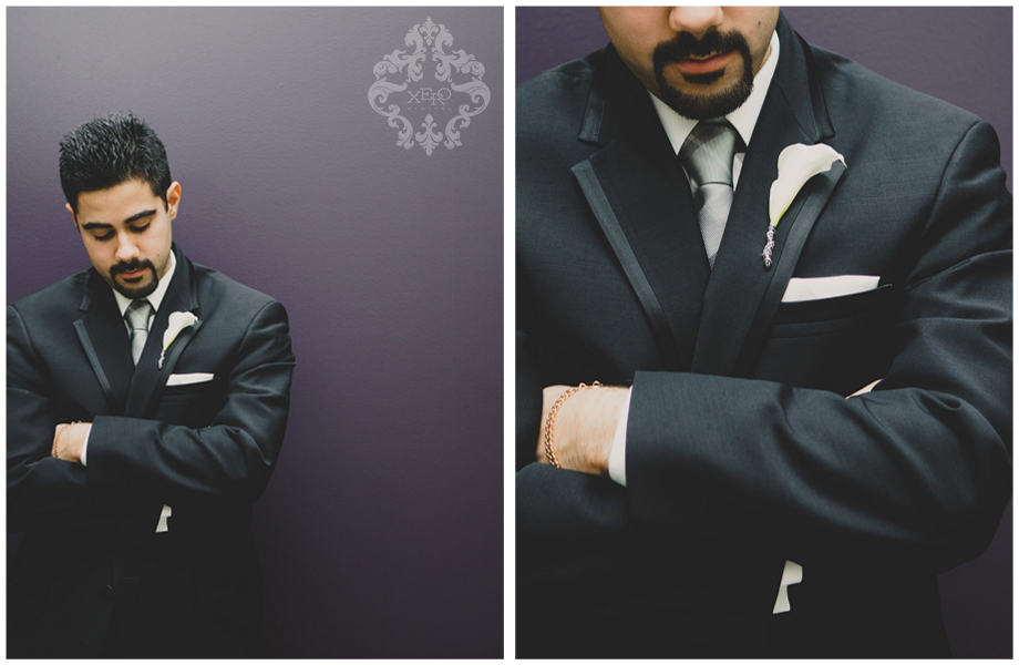 groom against a purple wall