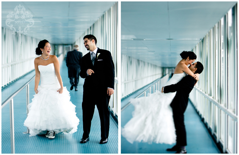 bride and groom in walkway