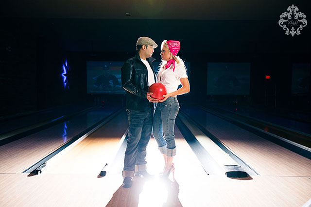 engagement shoot at a bowling alley