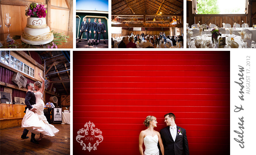 Collage of photos from a unique wedding at Belcroft Estates.