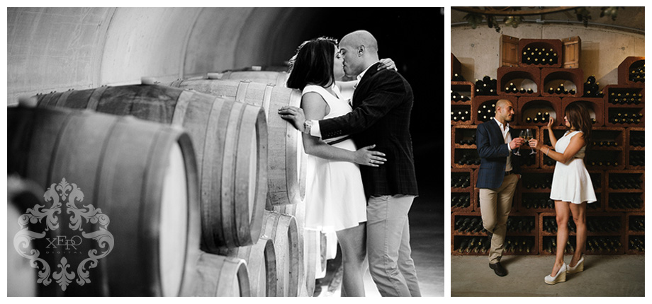 Couple photographed in winery.
