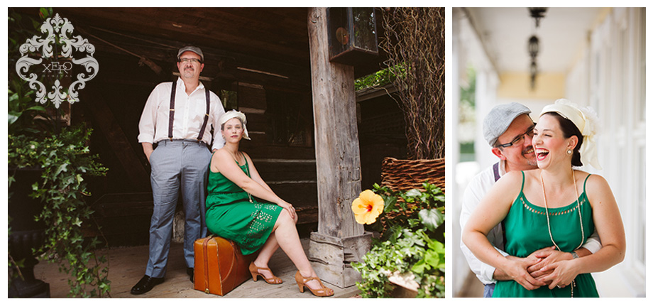 Vintage style engagement photos.