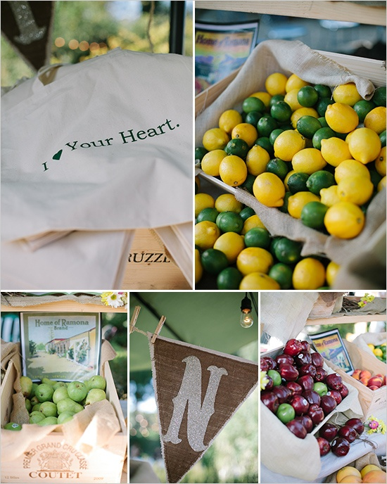 fruit stand at a wedding