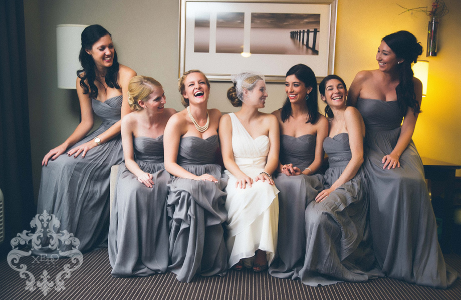 bridesmaids sitting on a couch