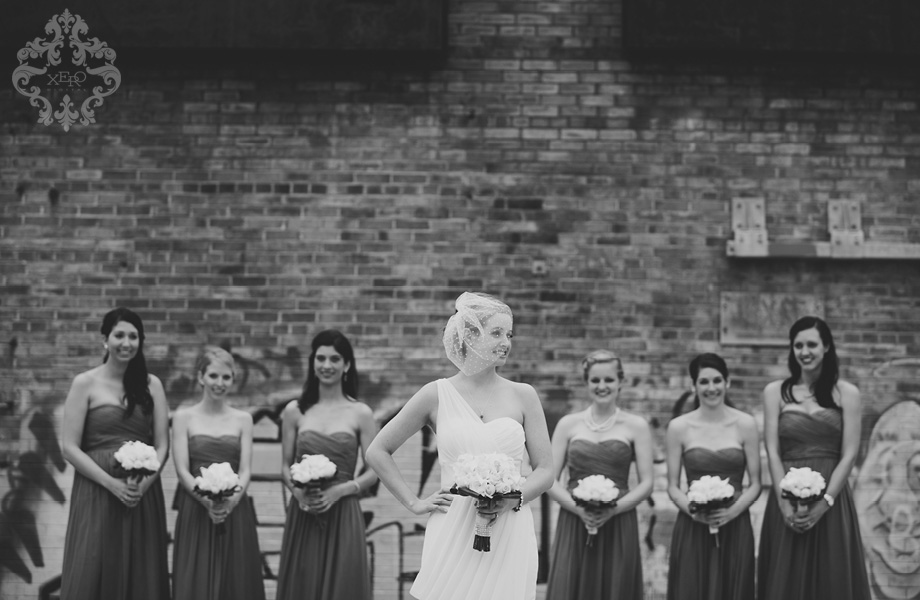bridesmaids at the Evergreen Brickworks