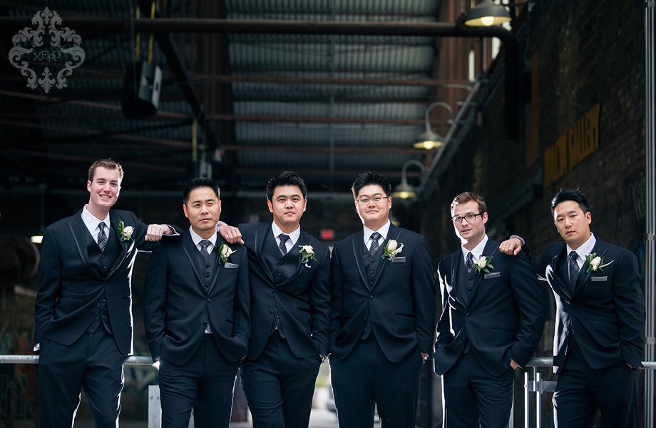 groomsmen at the Evergreen Brickworks