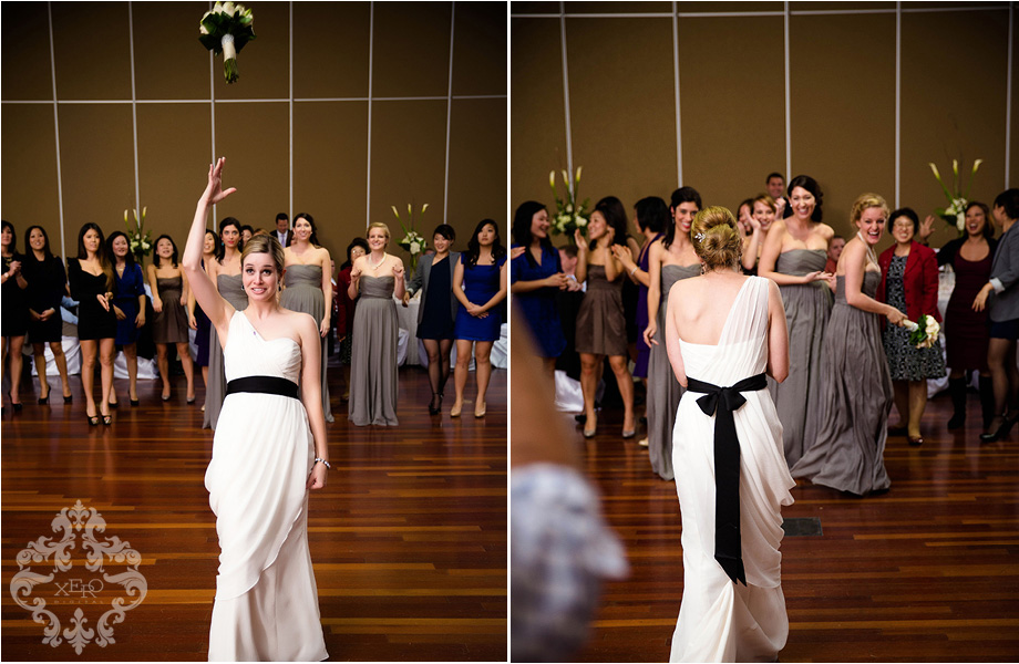 bride tossing bouquet