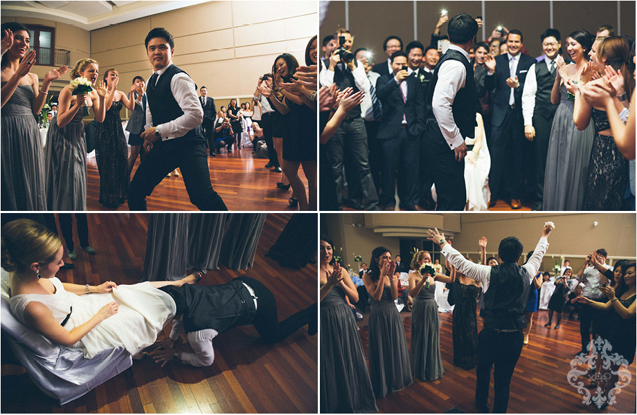 groom dancing and getting garter