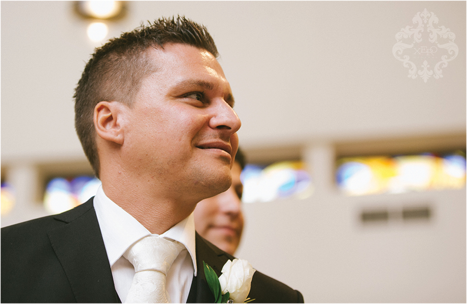 Groom's reaction walking down the isle