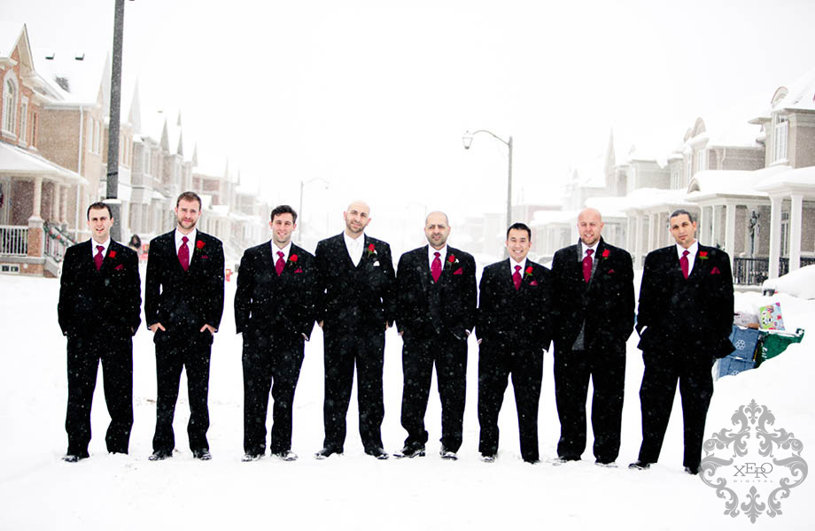 groomsmen in the snow