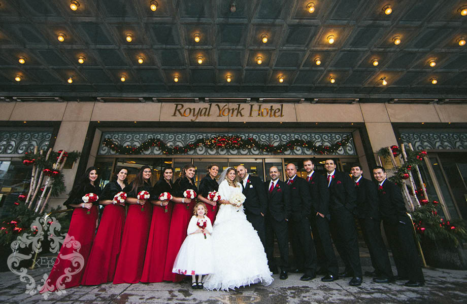 wedding party outside the Royal York Hotel