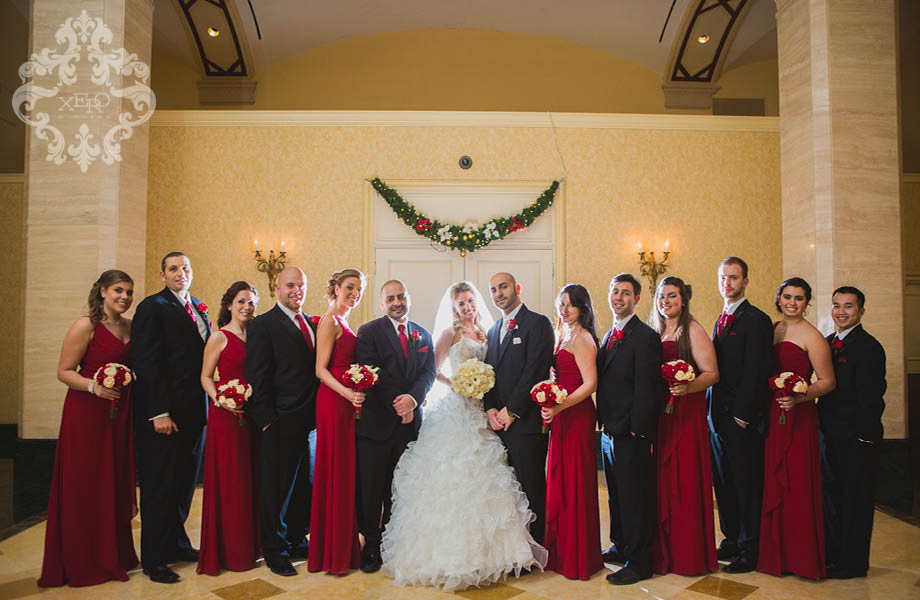 wedding party in black and red