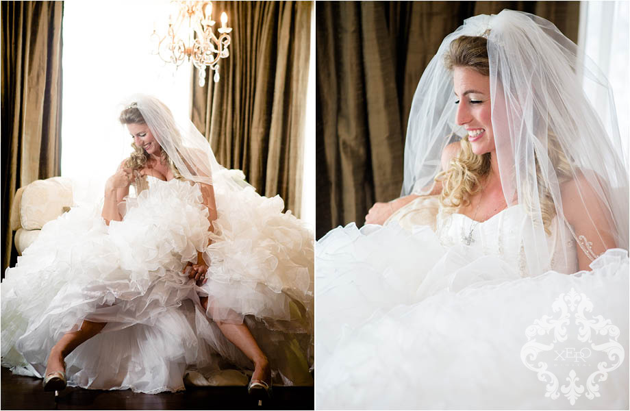 bride laughing in her huge dress