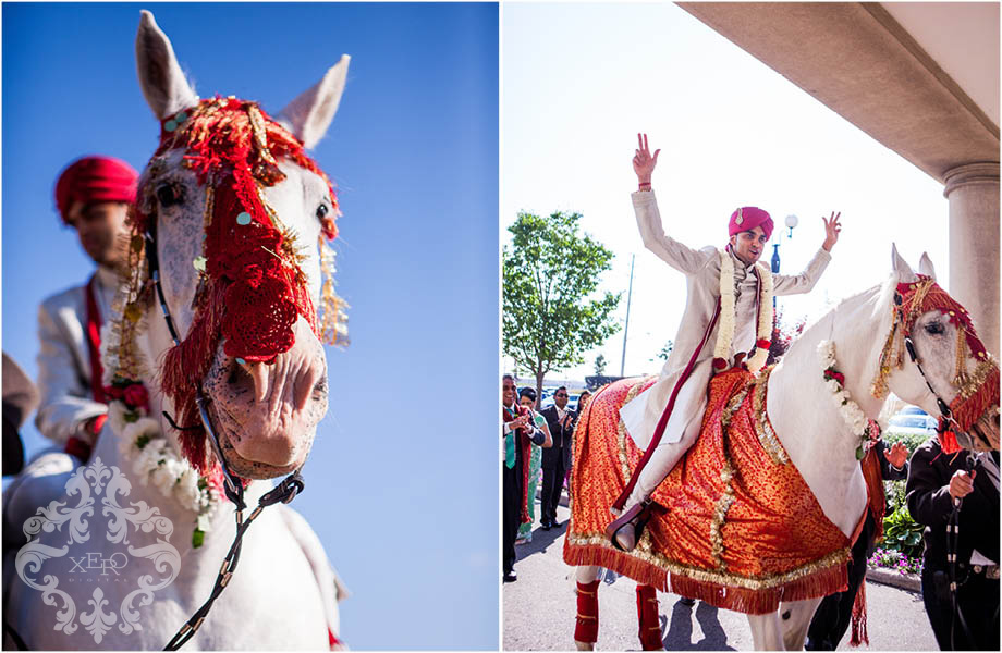 groom arriving on horse