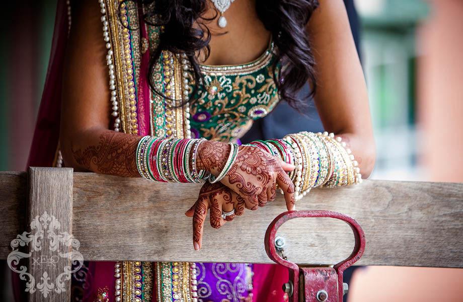 detailing on Bride's sari