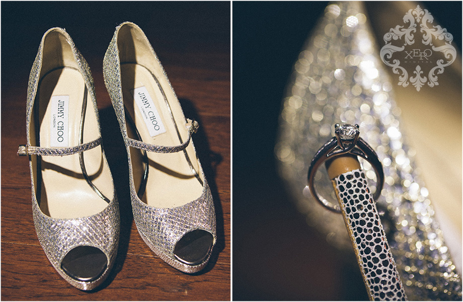 bride's shoes and engagement ring