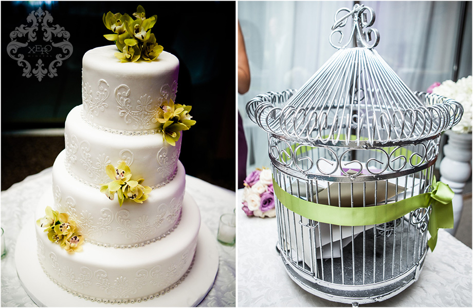 wedding cake and reception details
