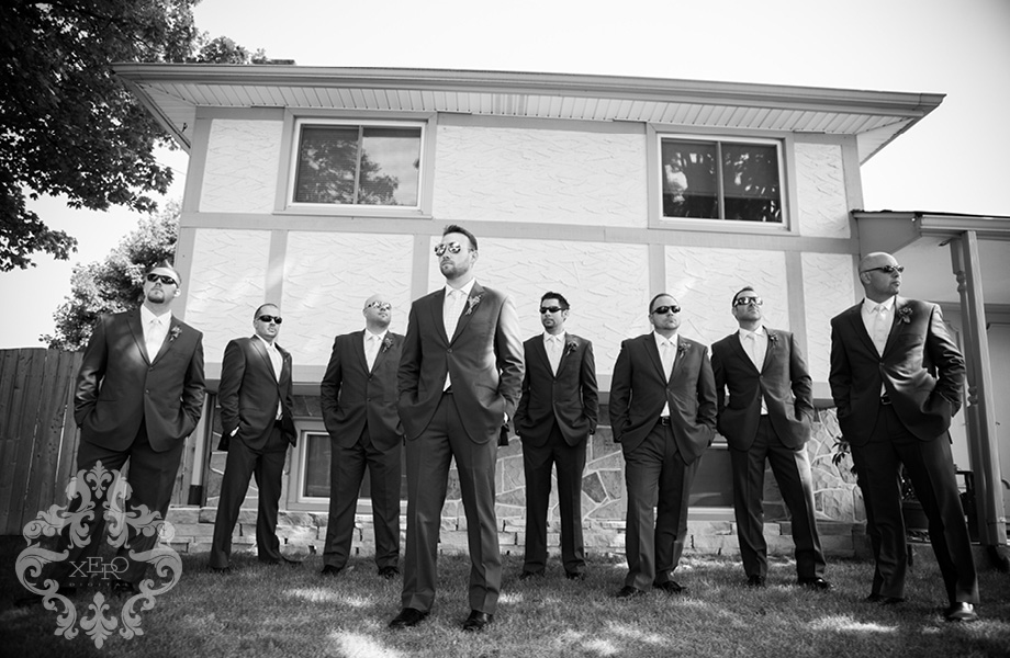 black and white photo of groomsmen