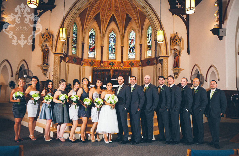 bridal party inside church