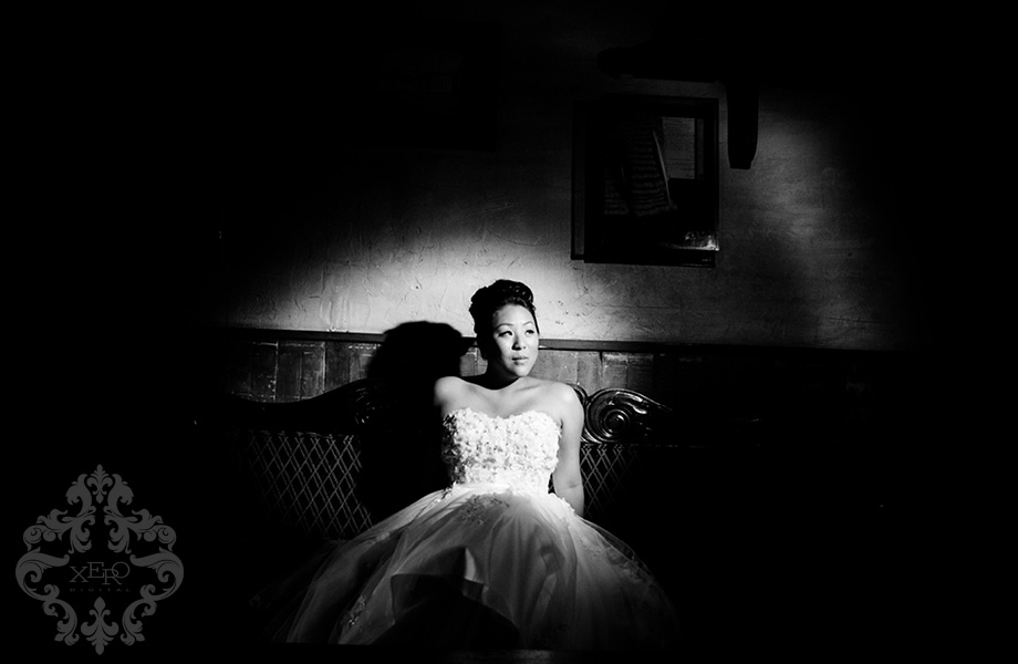 bride under spotlight