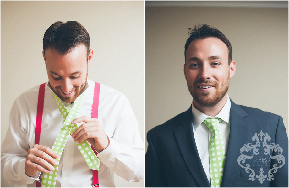 groom wearing pink suspenders