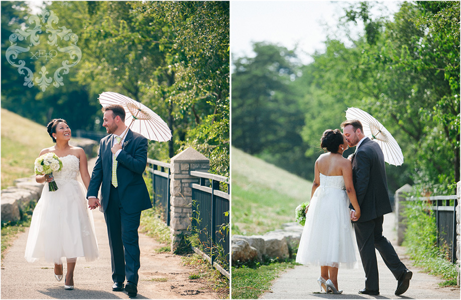 bride and groom walking with parasol