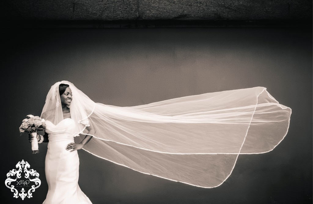 black and white veil flying
