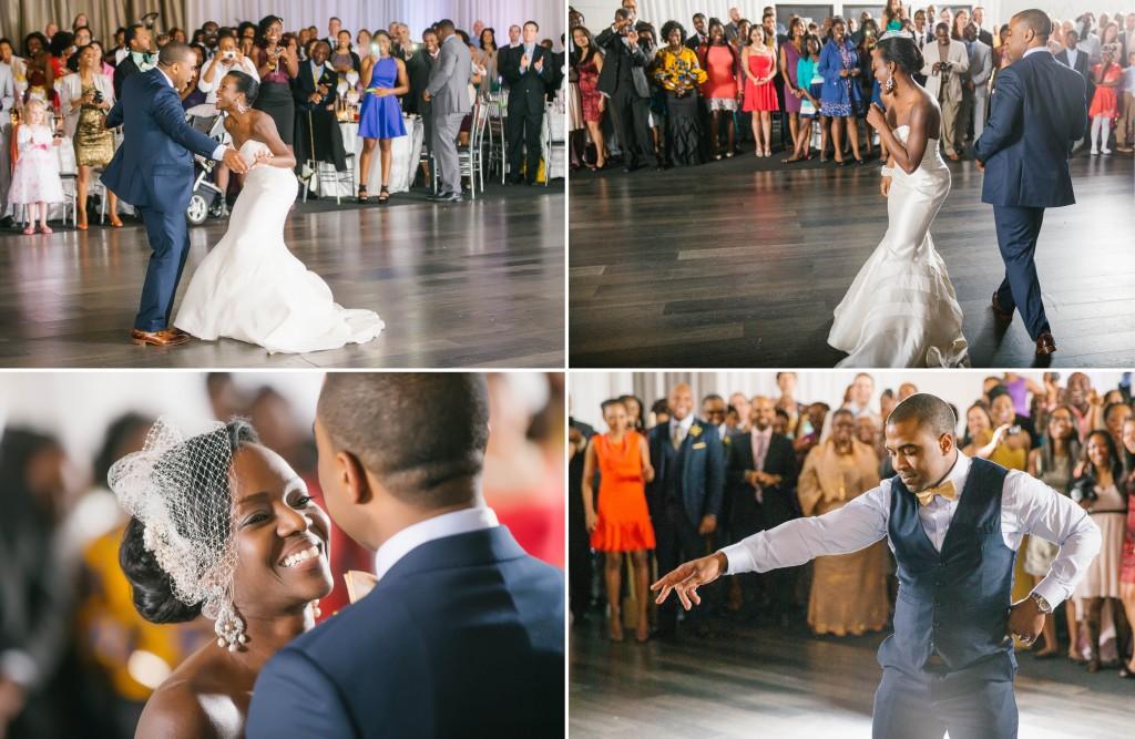 bride and groom dance off